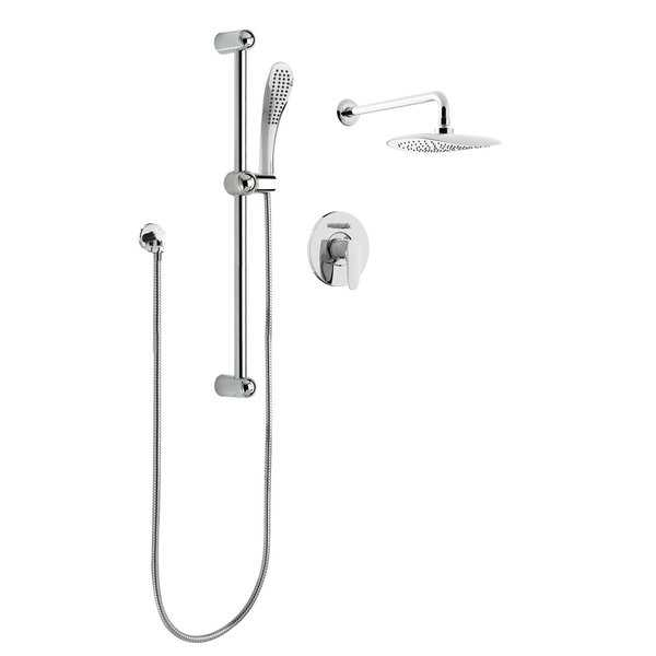 KIT-PUR130CCP Oval Rain Shower Faucet With Pressure Balanced Diverter Valve