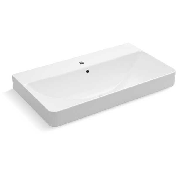 Kohler K-2749-1 Vox Rectangular 35-7/16' Trough Vessel Bathroom Sink with Single Faucet Hole - White - N/A