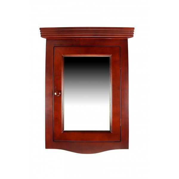 Cherry Hard Wood Corner Wall Mount Medicine Cabinet Mirror Fully Assembled