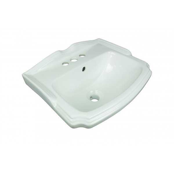 Small Wall Mount Bathroom Sink White with Overflow Centerset Holes and Brackets