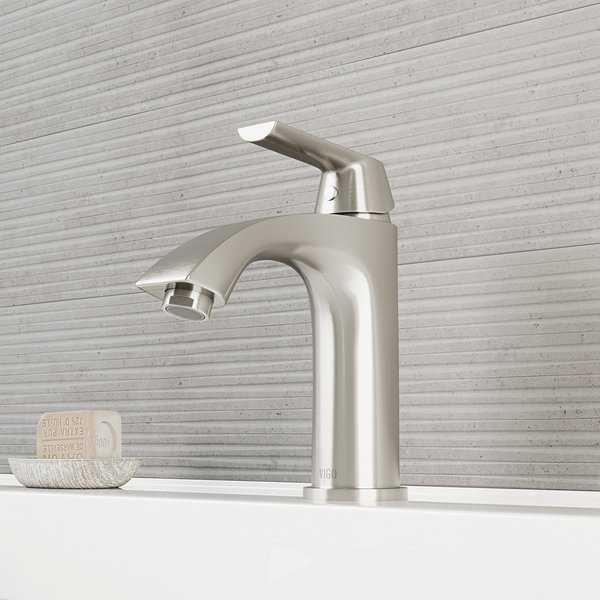 VIGO Penela Brushed Nickel Single Hole Bathroom Faucet