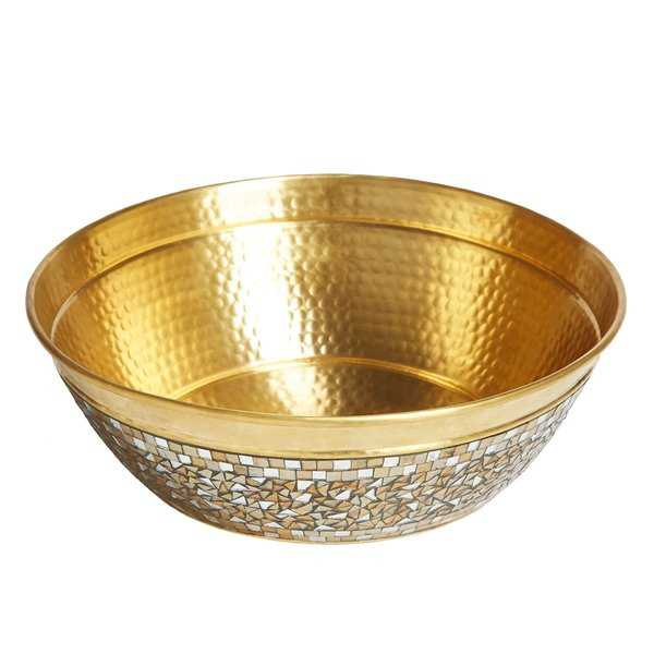 Sinkology Shockley 16' Solid Brass Vessel Sink with Hand Applied Champgane Glass Mosiac Exterior - Gold