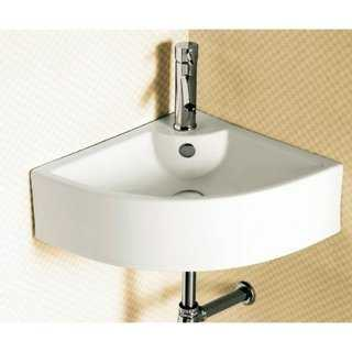 Caracalla CA4053-One Hole Corner White Ceramic Wall Mounted or Vessel Bathroom Sink