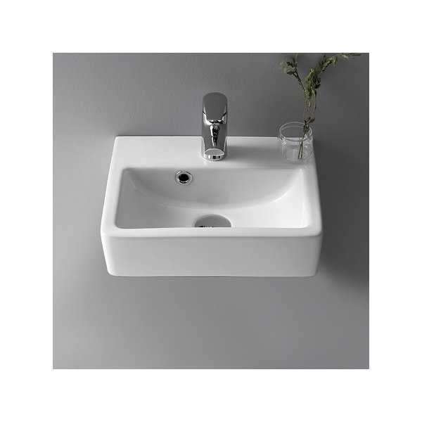 Nameeks 001400-U Mini 14-3/4' Ceramic Wall Mounted/Vessel Bathroom Sink with Hole Drilled - Includes Overflow