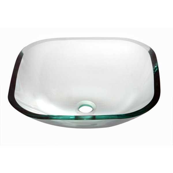Dawn Tempered Glass Vessel Sink Square Shape Clear Glass