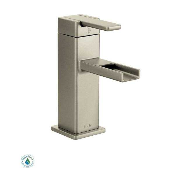 Moen S6705 Single Handle Single Hole Bathroom Faucet from the 90 Degree Collection (Valve Included) - N/A