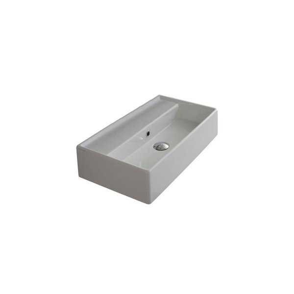 Nameeks 5002 Scarabeo 23-5/8' Ceramic Wall Mounted / Vessel Bathroom Sink with 1 / 3 Holes Drilled - Includes Overflow - N/A