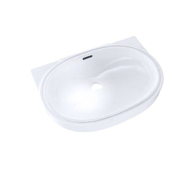 Toto Oval 19-11/16' x 13-3/4' Undermount Bathroom Sink with CeFiONtect LT546G#01 Cotton White
