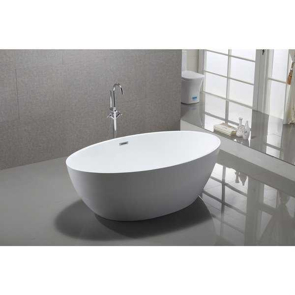 Vanity Art White Acrylic 69-inch Freestanding Soaking Bathtub